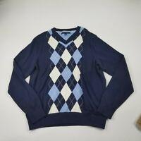 Tommy Hilfiger Men's Sweater Medium Navy Blue V-Neck Pullover Long Sleeves