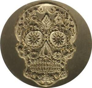 """Sugar Skull / Day of the Dead / Calavera 1.2"""" dia. Wax Seal Stamp, Slight Irreg"""