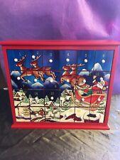 Christmas Santa Sleigh Scene Wooden Advent Calendar Draw Style. Ex Display! -251