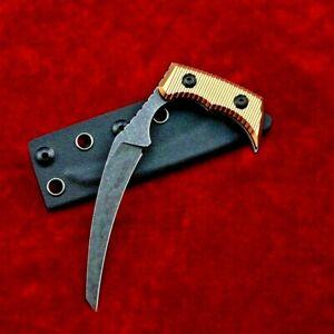 Drop Point Fixed Blade Hunting Tactical Survival Combat D2 Steel Aluminum Handle