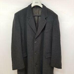 Woodward Great Britain Wool Cashmere Top Coat Overcoat Dark Gray Size 46 R