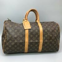LOUIS VUITTON KEEPALL 45 Boston Travel Bag Purse Monogram M41428 Brown