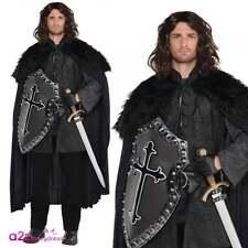 Mens Black Furry Cloak Medieval Warrior Game Of Thrones Jon Snow Fancy Dress
