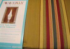 Waverly Drape Curtain Torino Stripe Saffron Panel 84L Olive Green Red Gold NIP