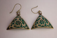 Asian jewelry ethnic handmade tibetan brass earrings  hook tops nepal ERP3