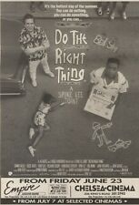 24/6/89Pgn28 Advert: On Screens 'do The Right Thing' A Spike Lee Joint 10x7