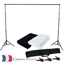 1.6.x3m Blanc Noir Toile de Fond + 2x2m Support pour Kit de Studio Photo FR