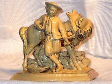 ANTIQUE EICHWALD 24A POTTERY PIPE & MATCH HOLDER HORSE & RIDER FIGURINE EXCELLEN