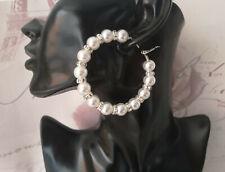 "Beautiful white faux pearl & diamante bead hoop earrings - 6.5cm - 2.5"" - BRIDAL"