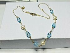 """14k Yellow Gold Filled Blue Topaz Briolette & Genuine White Pearls Necklace 17"""""""