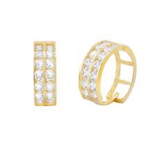 14K Solid Yellow Gold Huggie 2 ROW HOOP Earrings 3-H21Y Cubic Zirconia