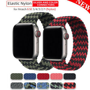 for Apple Watch Strap 38 40 42 44 mm Nylon Elastic Braided Solo Loop Strap Band