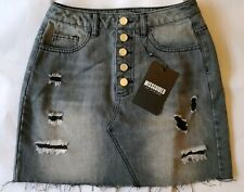 64223c02d6 Missguided Ladies Grey Ripped Distressed Denim Jean Mini Skirt 26