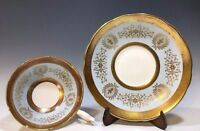 Rare! Coalport Lady Anne Pattern Tea Cup And Saucer Light Blue/Gold/White