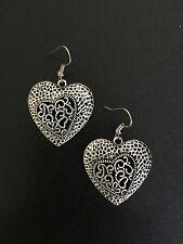 Earrings Filigree Heart Silver Hippie Bohemian Boho Tribal Gypsy Gift A1047