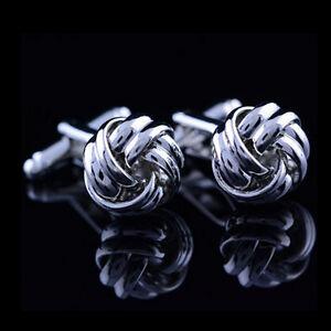 Stainless Steel Cufflinks Vintage Knot Twist Cuff Links Men's Wedding Gift H`