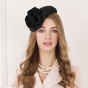 Teardrop Womens Wool Felt Fascinator Floral Tam Beret Casque Cocktail Hat A566