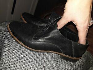 Aldo Black Leather Ladies Flat Brogue Shoes Uk 6