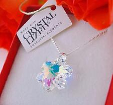 STERLING SILVER * NECKLACE PENDANT WITH SWAROVSKI ELEMENTS SNOWFLAKE CRYSTAL AB