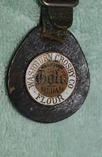 AU-086 - Washburn Crosby Co Gold Medal Flour Leather Metal Watch Fob Advertising