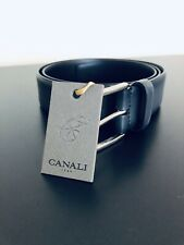 NWT$245 Canali Grey/Black Italian Leather Belt Size 30, 32, 34, 36 Euro 90/105