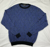 St.Croix Sweater Wool Blend Fashion Fit Size Large Blue Black Gray Made In USA