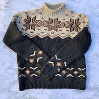 Eddie Bauer XS/XP Women's 100% Wool Sweater Crewneck Fair Isle Nordic Pattern