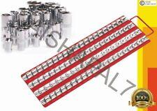 "RED LARGE 80 SOCKET TRAY RACK STORAGE RAIL HOLDER SHALLOW DEEP 1/2"" 3/8"" 1/4"""