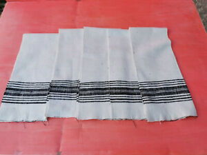 OLD ANTIQUES PRIMITIVE HAND WOOVEN HOMESPUN TOWELS COTTON - LOT OF 5