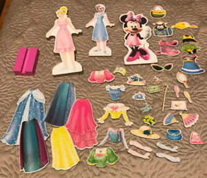 Disney Princess Minnie Mouse Magnetic Dress Up Doll Lot Elsa Cinderella