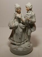 Colonial White Gold Accents Porcelain Victorian Courting Couple Figurine Taiwan