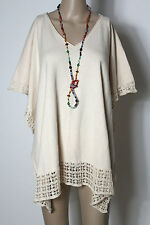 H&m Poncho Taille Freesize Beige Coton manches Courtes Poncho Pull Avec Crochet Dentelle