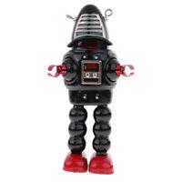 Vintage Wind Up Mechanical Tin Mask Robot Spaceman Retro Clockwork Toy Black