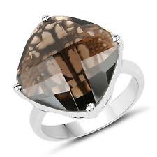 11.10 ct Genuine Smoky Quartz Gemstone 925 Sterling Silver Wedding Cocktail Ring