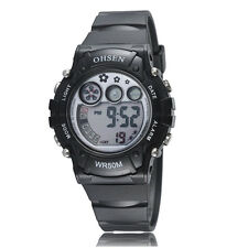 OHSEN Children Boys Girls Black Date Water Proof Digital Quartz Wrist Watch Gift