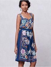 Moulinette Soeurs For Anthropologie Silk Mabel Floral Tassels Dress Blue Sz XS