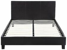 Classic Deluxe Bonded Leather Low Profile Platform Bed Frame with Paneled...