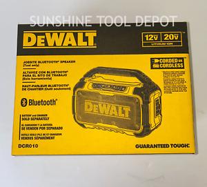 DeWALT DCR010 12-Volt/20-Volt Corded/Cordless Dual Speaker Bluetooth Speaker New