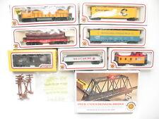 Bachmann HO Scale Model Train Set Union Pacific 866 Locomotive & 6 Cars Bridge