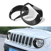 Black Pair Angry Eyes Style Headlight Bezels Cover Trim for Jeep Renegade 15-20
