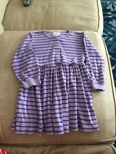 Girls Hanna Andersson Purple Long Sleeve Play Dress Striped Size 110