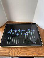 Vintage 1970's Otagiri Blue Iris Lacquerware Serving Tray 14x 10.5