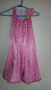 Super nice- PEACHES 'N CREAM - Girls polka dots dress - pink / white - Size 10