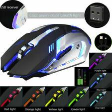 Gaming Mouse Rechargeable Wireless Silent LED Backlit USB Optical Ergonomic US