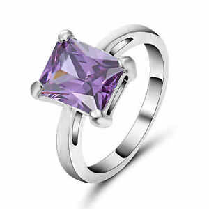 Cocktail Size 6 Woman (purple)Amethyst white 10K Gold Filled Fashion Ring Gift