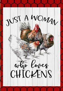 """MINI FLAG - Woman Loves Chickens - Farm - Flags Galore #G1163 - 12.5"""" x 18"""""""