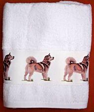 ALASKAN MALAMUTE DOG LARGE HAND/GUEST TOWEL WATERCOLOUR PRINT SANDRA COEN ARTIST