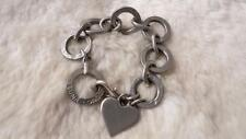 LUNA LONDON Pewter Linked Loops Heart Tag Bracelet