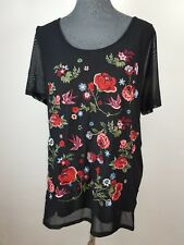 Neue MS Mode Damen Bluse Gr XL Schwarz mit Blumen Stickerei NEU/OVP