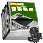 30x40 Ft Waterproof Poly Tarp with 25 Ball Bungees Protect Cover 10mil Tarpaulin
